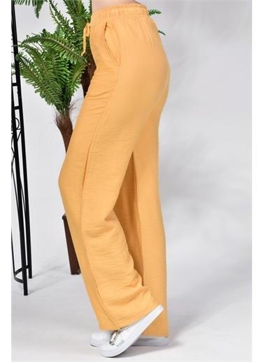 Rodi Jeans Kadın Airobinli Bol Paça Beli Lastikli Pantolon Rd21Yb011241 Hardal
